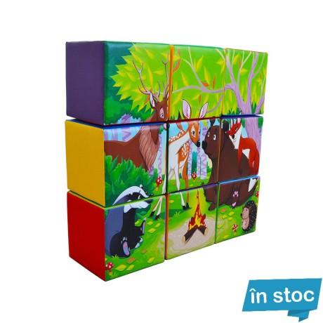 Set 9 Cuburi Gigant Puzzle [Animale în padure]